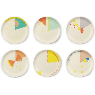 Assiettes (lot de 6) en bambou motif Cake multicolore