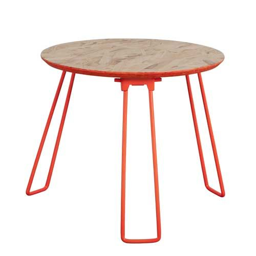 Zuiver - Table basse en métal orange plateau en bois Fluor Zuiver - PM
