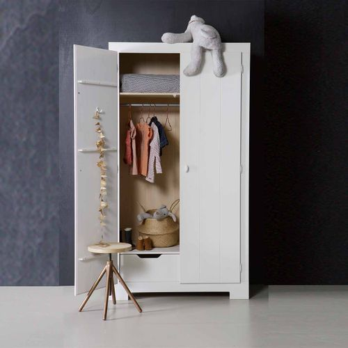 Made by Woood - Armoire penderie pin massif blanc 1 étagère 1 penderie Nikki - blanc