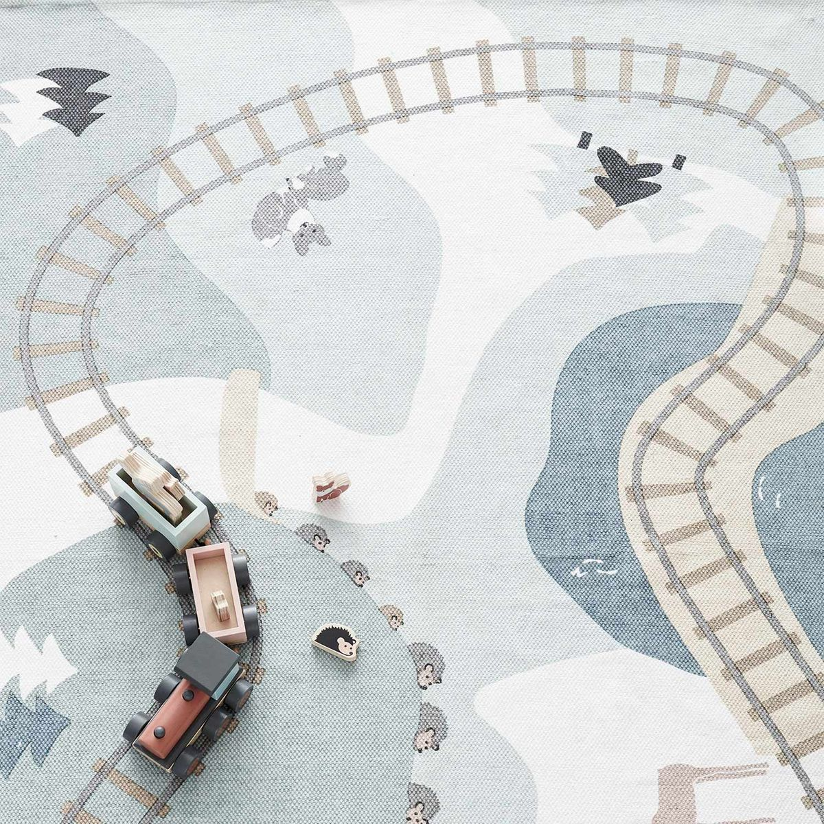 Tapis enfant en coton Train de la mine 130x170 Edvin Kid´s Concept
