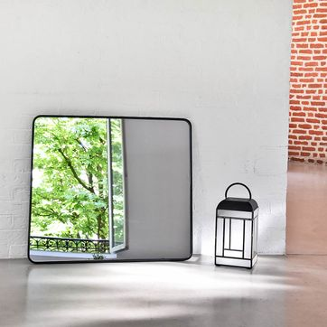 Miroir rectangulaire angles arrondis en métal noir decoclico Factory