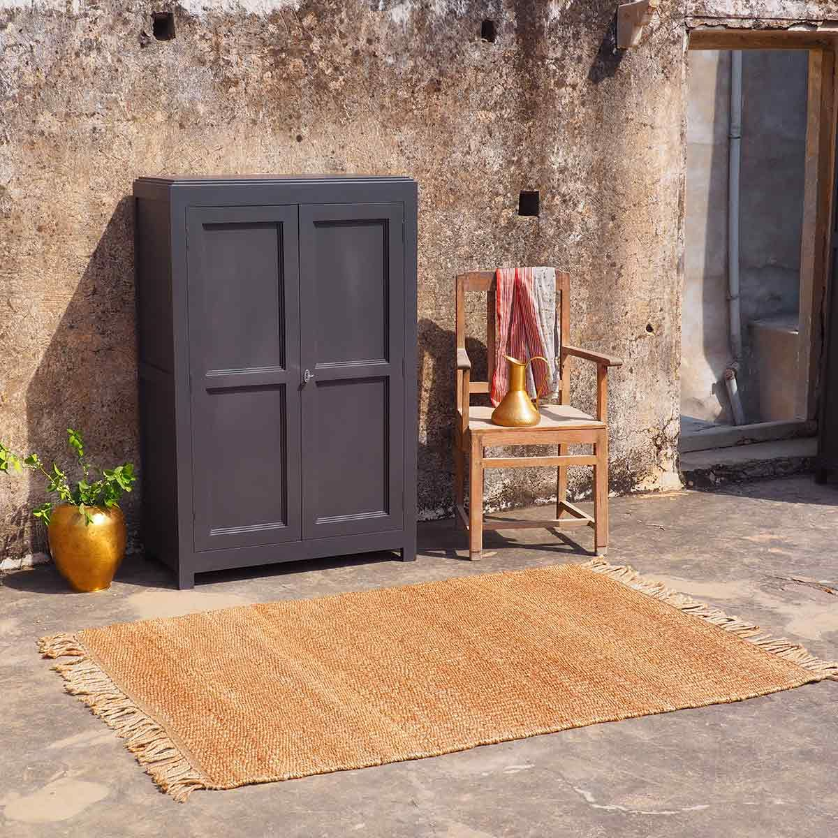 Tapis rectangulaire en jute naturel tissé main franges PM