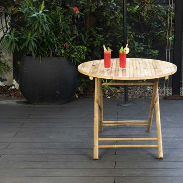 Table de jardin ronde pliante en bambou naturel Taman