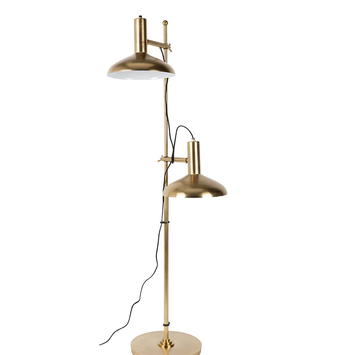 Lampadaire double liseuse en métal finition laiton Karish Dutchbone