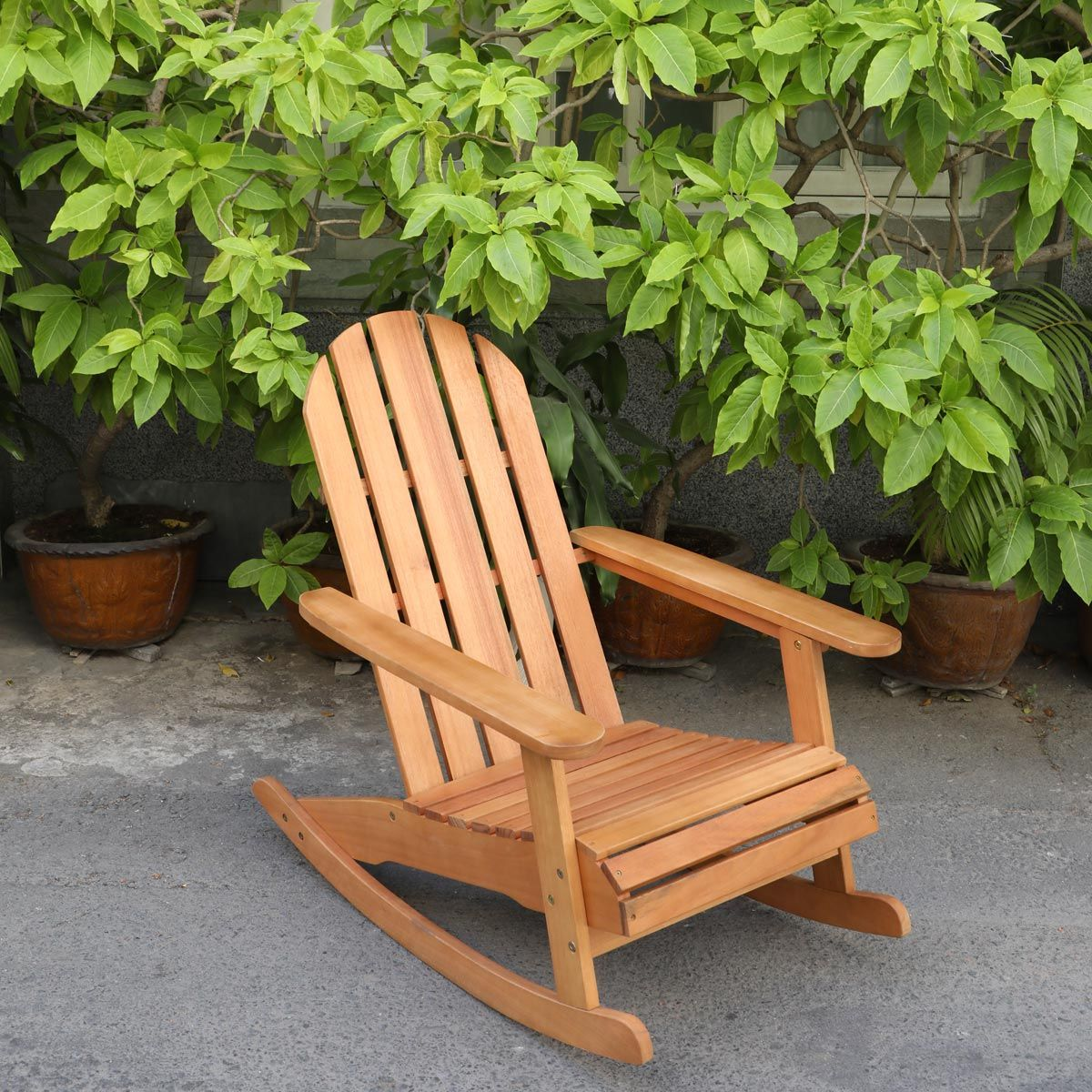 Rocking chair en eucalyptus FSC type Adirondack - naturel