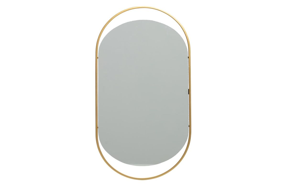Miroir ovale en fer finition laiton antique Sanou