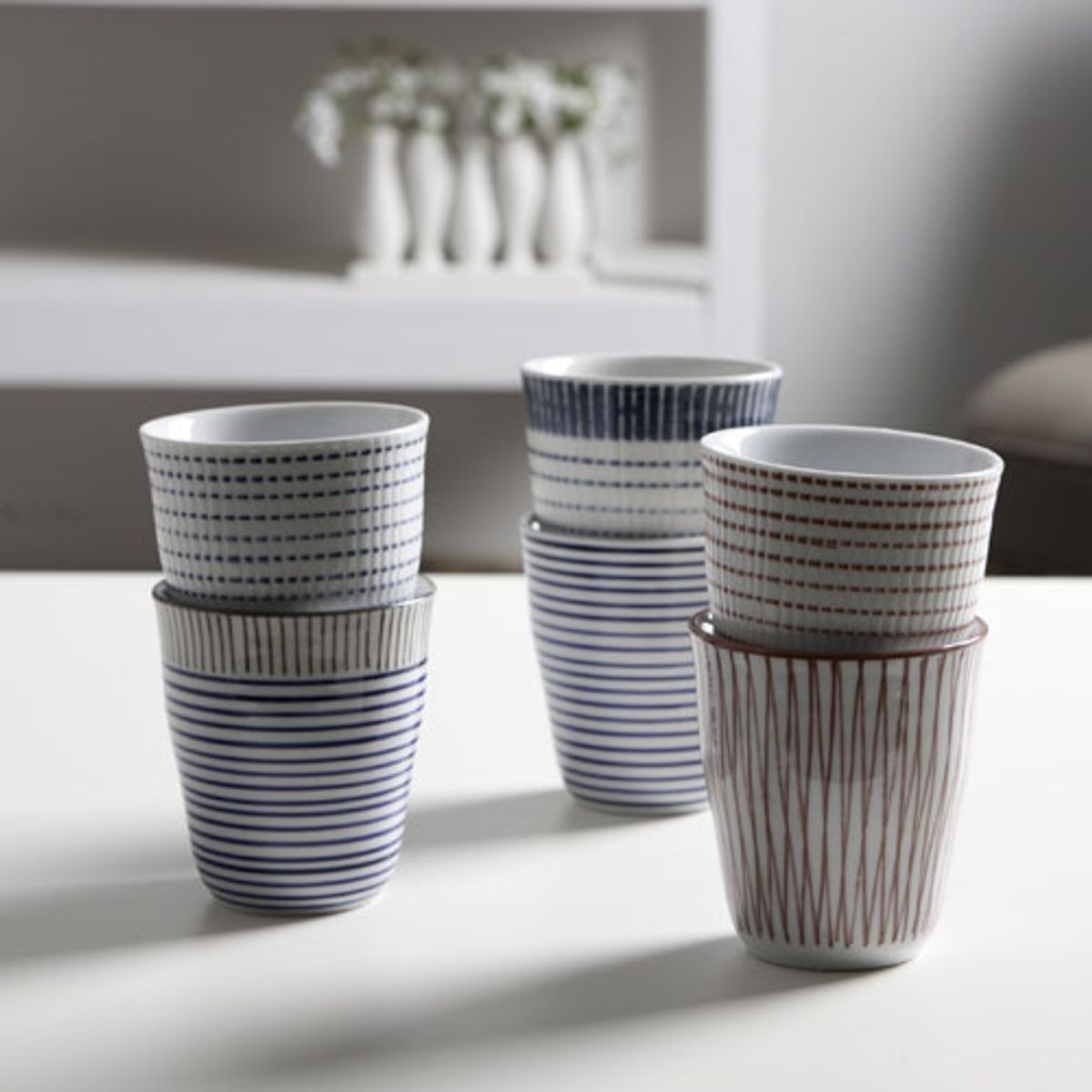 Gobelets tasses en porcelaine (coffret de 6) Block Stripes peint main