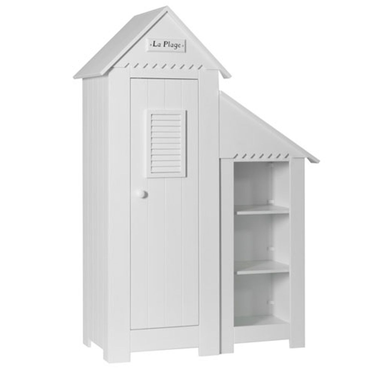 biblioth que basse enfant cabine de plage en bois blanc. Black Bedroom Furniture Sets. Home Design Ideas