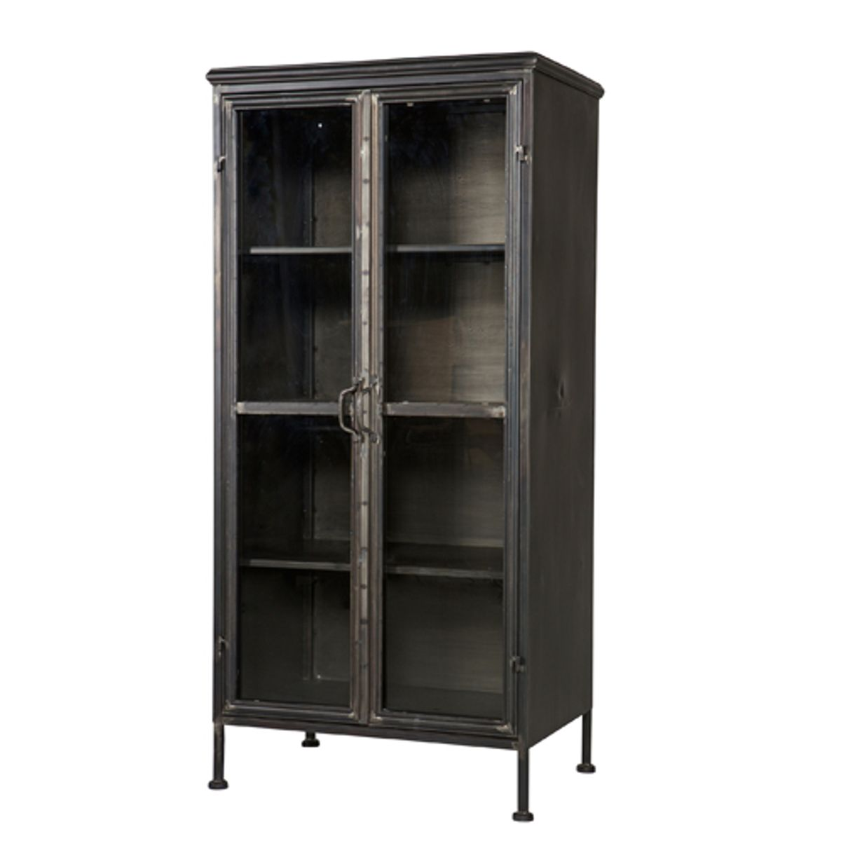 vitrine biblioth que en m tal noir 2 portes 3 tag res puristic decoclico. Black Bedroom Furniture Sets. Home Design Ideas