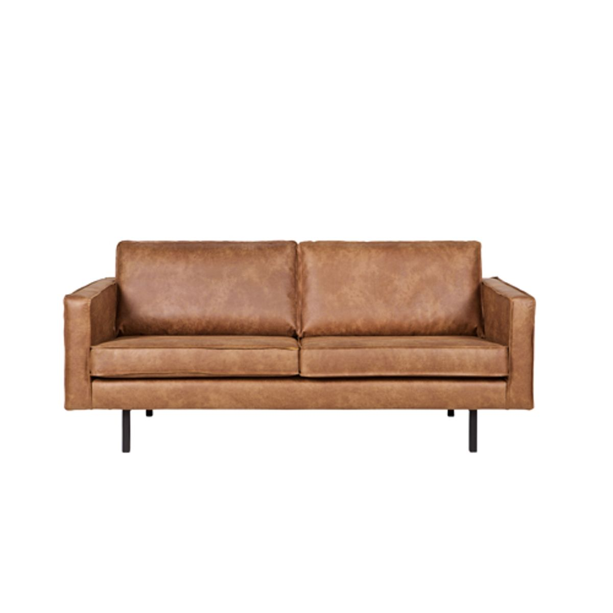 Canap contemporain en cuir et polyester rodeo cognac for Canape cuir contemporain