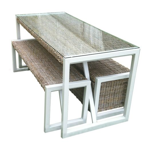 City Green - Table de jardin en kubu et aluminium Malacca City Green