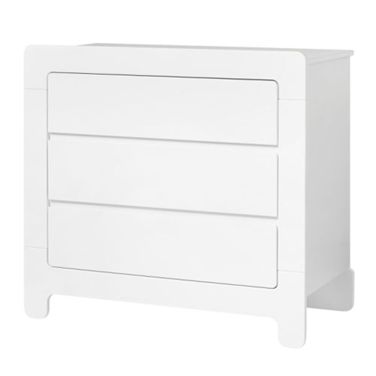 commode en bois blanc 3 tiroirs moon pinio decoclico. Black Bedroom Furniture Sets. Home Design Ideas