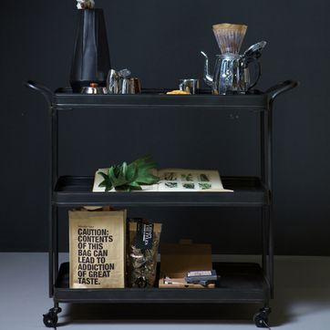 Table desserte roulante en métal noir Tea Trolley