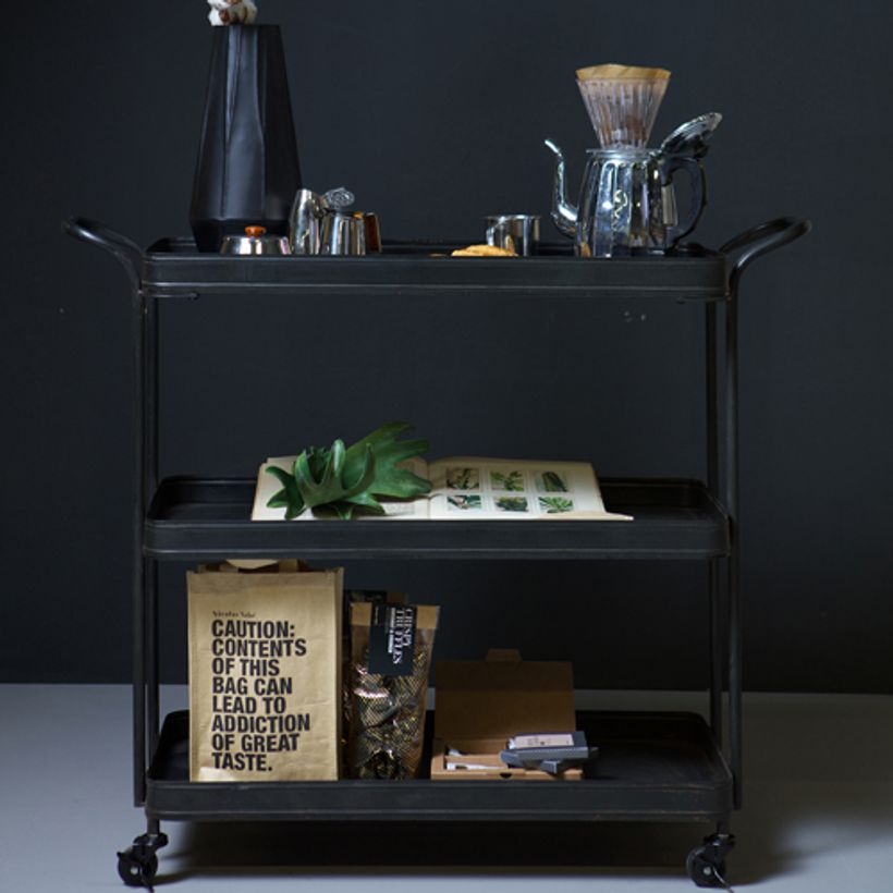 Table desserte roulante en m tal noir tea trolley decoclico - Desserte de table roulante ...