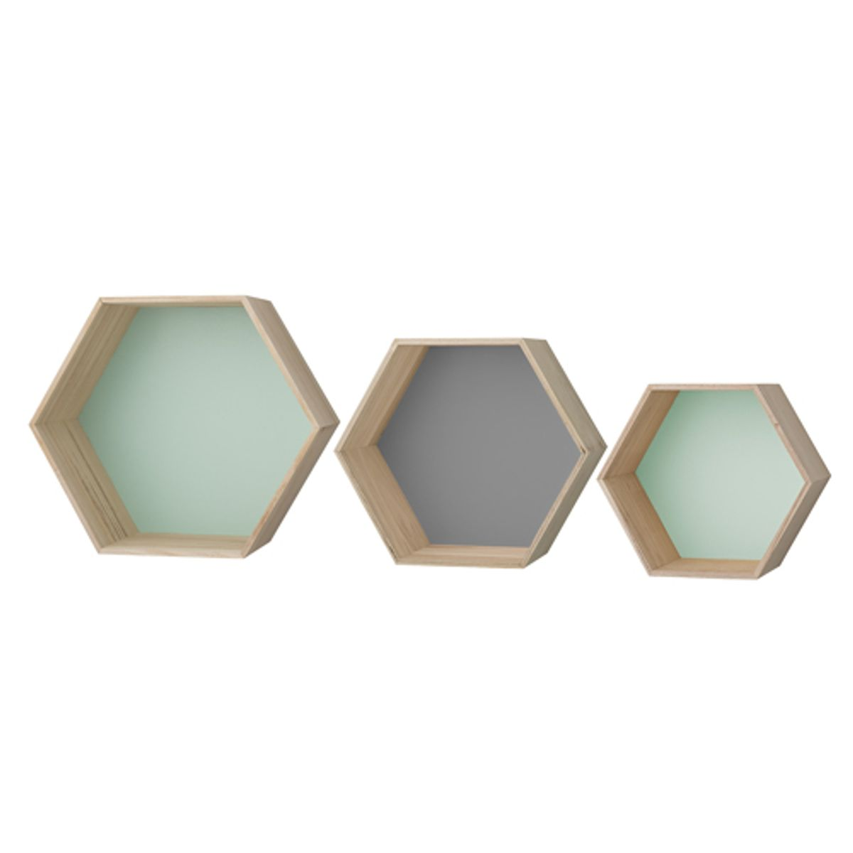 set de 3 tag res murales hexagonales en bois gris et vert bloomingville decoclico. Black Bedroom Furniture Sets. Home Design Ideas
