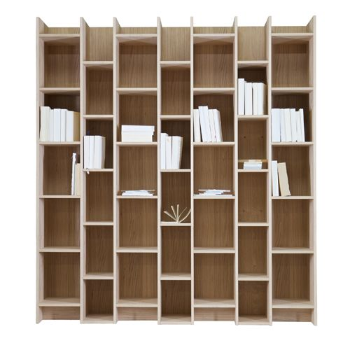 Biblioth Que Tag Re En Bois Naturel Plaqu Ch Ne Expand Decoclico # Bibliotheque Bois