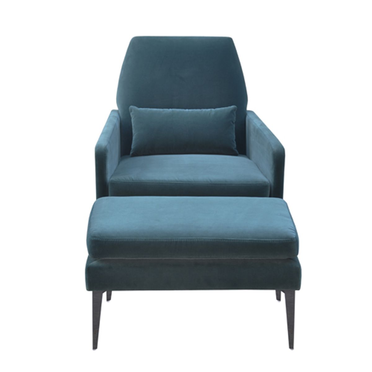 fauteuil velours de coton et ottoman vaugirard bleu de prusse decoclico. Black Bedroom Furniture Sets. Home Design Ideas