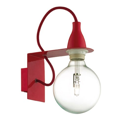 Ideal Lux - Applique murale en métal coloré ampoule Minimal - Rouge