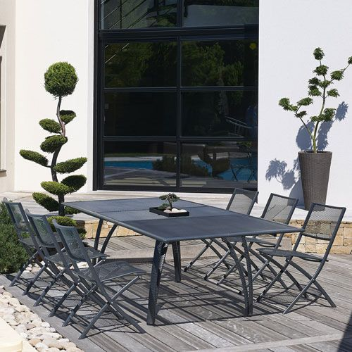 Emejing salon de jardin aluminium oogarden gallery home for Table extensible 3m groupon
