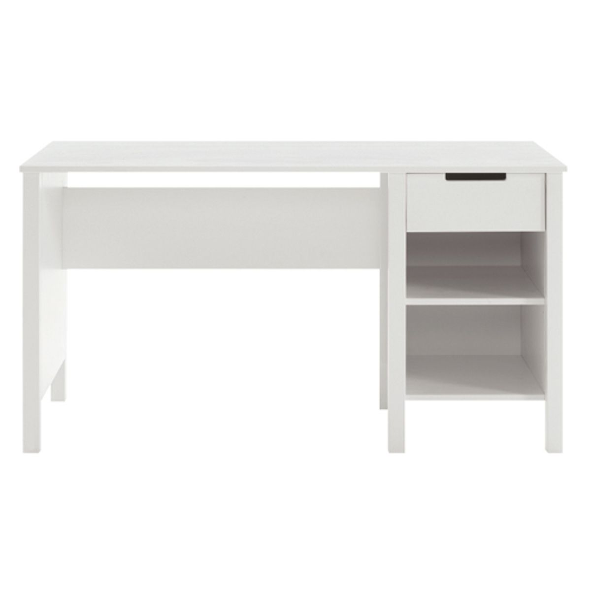 Bureau enfant en pin blanchi 1 tiroir 2 niches mika for Bureau junior