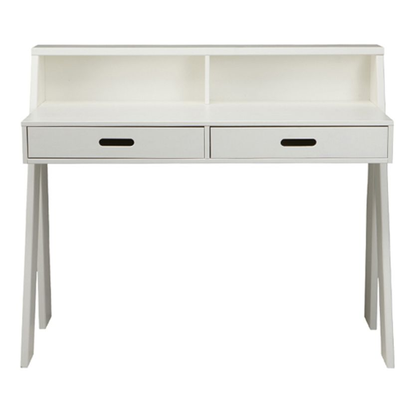 Bureau junior en pin massif blanc 2 tiroir max fabrication for Bureau junior
