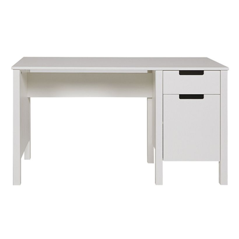 Bureau junior en pin massif blanc 1 tiroir et 1 porte avec for Meuble bureau junior