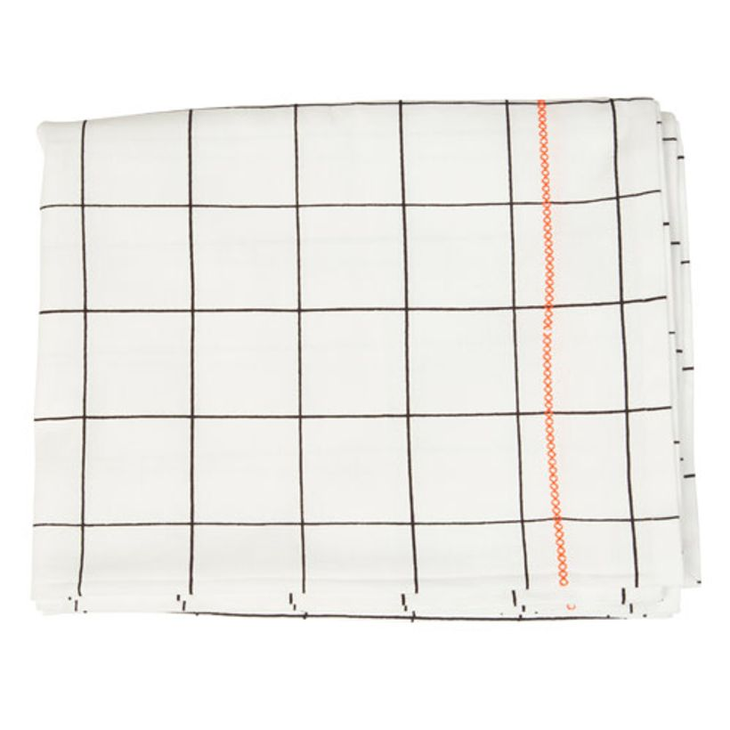 Nappe en coton couture Orange fluo Grid Present Time - 140x220cm