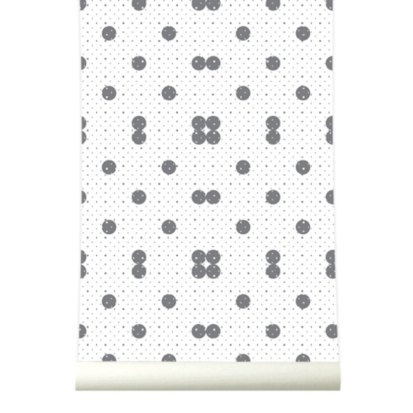 papier peint blanc motif pois gris 4 l s dots roomblush decoclico. Black Bedroom Furniture Sets. Home Design Ideas