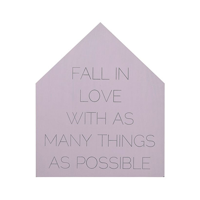 Plaque murale maison en bois lilas Fall in Love Bloomingville