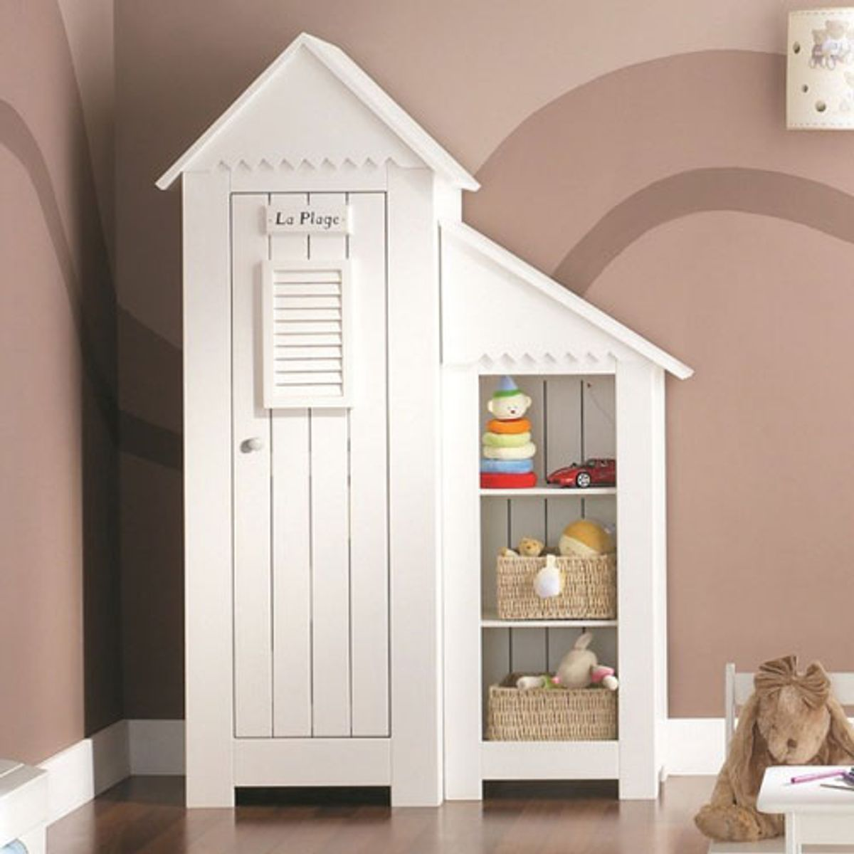 armoire penderie enfant cabine plage en bois blanc. Black Bedroom Furniture Sets. Home Design Ideas