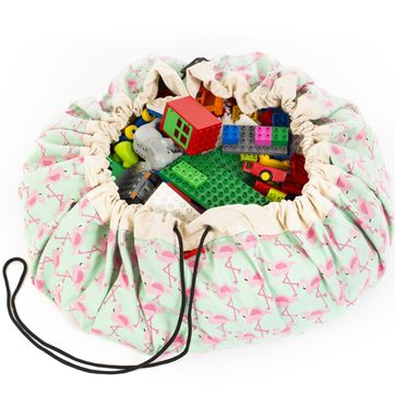 Sac de rangement / tapis de jeu en coton Flamants roses Play and go