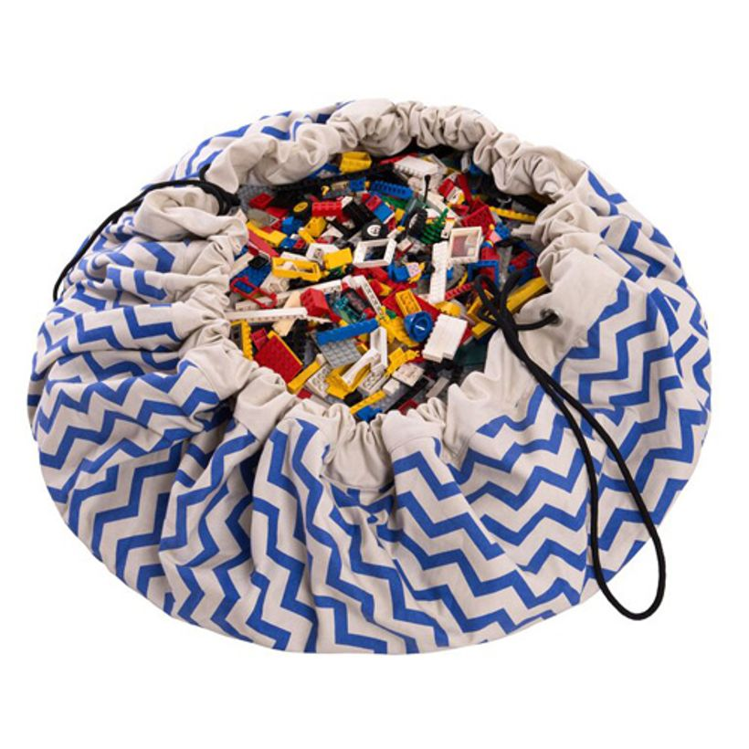 sac de rangement tapis de jeu en coton zigzag play and go bleu decoclico. Black Bedroom Furniture Sets. Home Design Ideas