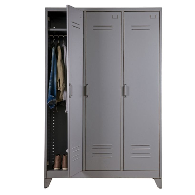 armoire penderie type casier en m tal gris 3 portes 3 tag res max decoclico. Black Bedroom Furniture Sets. Home Design Ideas