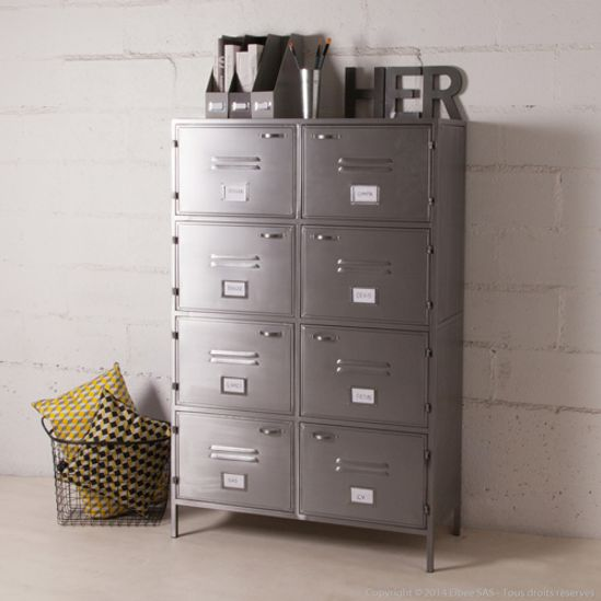 buffet bas meuble tv en m tal gris 2 portes casiers style. Black Bedroom Furniture Sets. Home Design Ideas