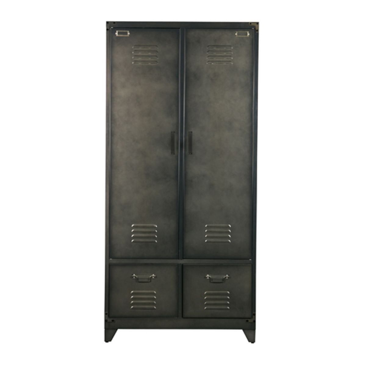 Armoire Casier Metal Noir 1 Penderie 3 Etageres 2 Tiroirs Locker