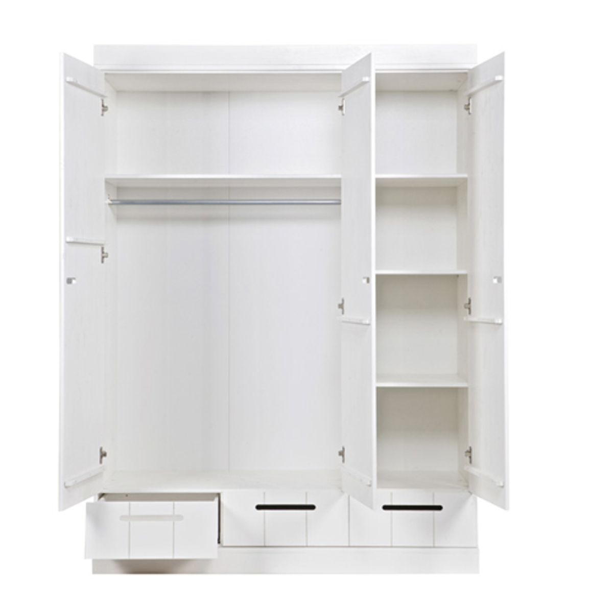 armoire penderie en pin blanc 3p tag res et tiroirs connect creuse decoclico. Black Bedroom Furniture Sets. Home Design Ideas