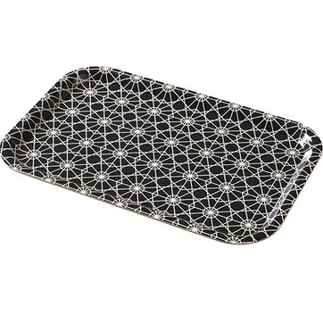 Plateau rectangulaire motif carreaux noir et blanc Superliving