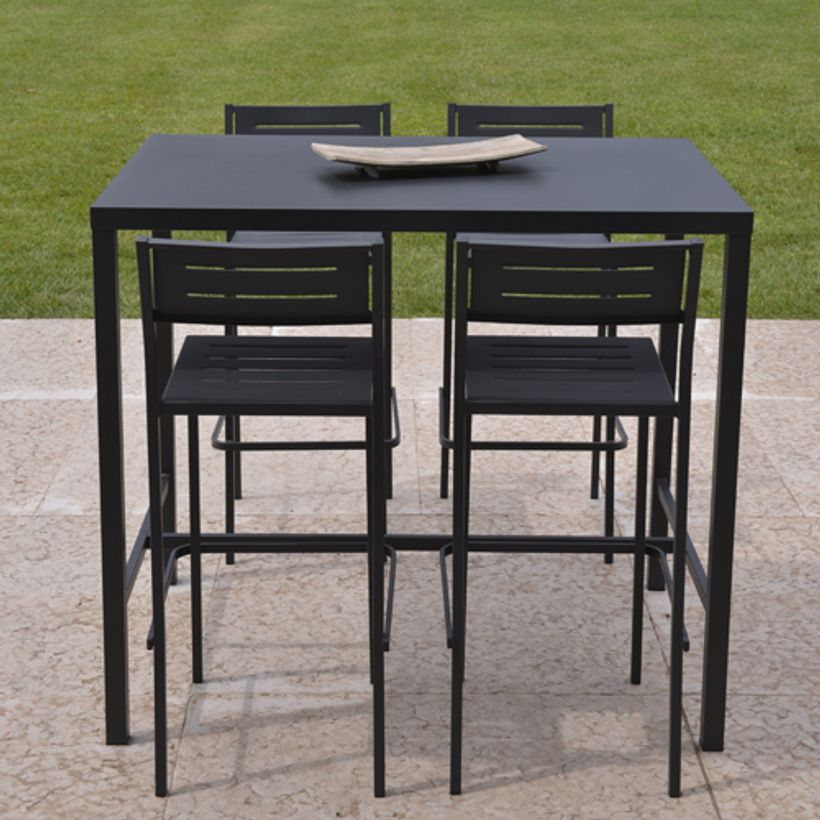 table de bar ou table haute pour le jardin rect en acier 2 couleurs dorio rd decoclico. Black Bedroom Furniture Sets. Home Design Ideas