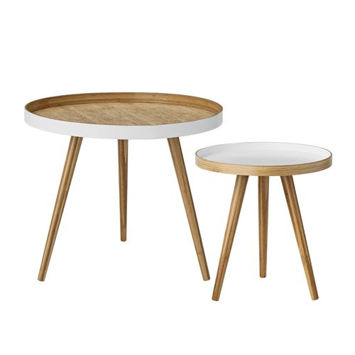 Bloomingville - Table basse ronde en bambou naturel et blanc (par 2) Bloomingville