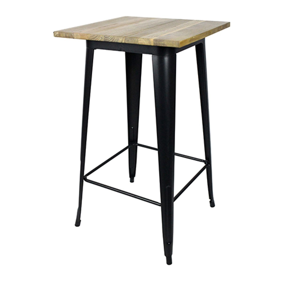 Table de bar carr e en acier noir mat et plateau orme Table bar carree