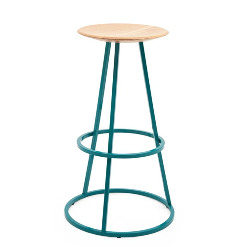tabouret de bar en ch ne et pied en acier bleu gustave hart decoclico. Black Bedroom Furniture Sets. Home Design Ideas