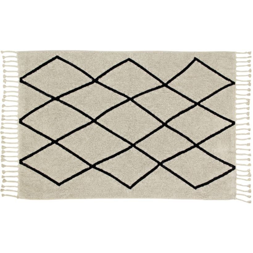 tapis coton cru et motif graphique noir berb re lorena canals decoclico. Black Bedroom Furniture Sets. Home Design Ideas