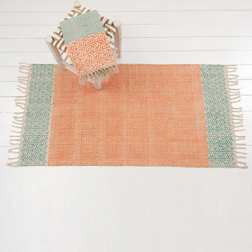 Tapis réversible en coton imprimé orange et vert Windy Hill - GM